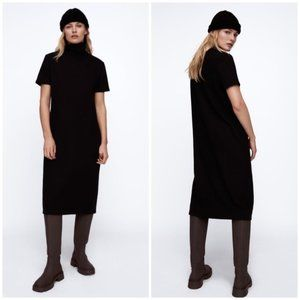 ZARA Black Ottoman Knit Midi Dress Soft Stretch M